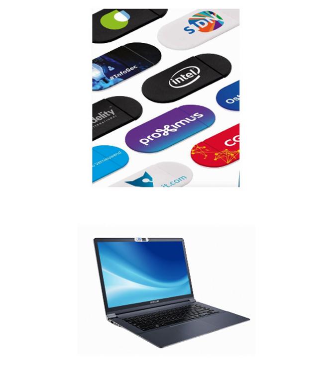 Webkameran suoja logomerkkauksella ja personoidulla etiketillä